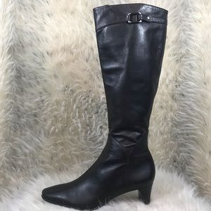 Cole Haan tall leather dark brown boots heeled 8